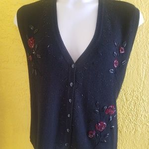 Napa Valley Beaded Wool Sweater Vest 1X 18 20